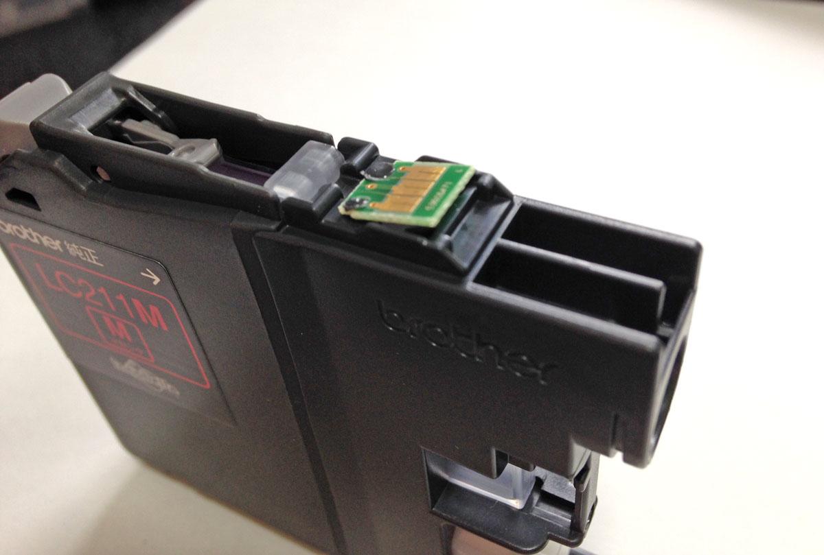 ブラザー純正LC211カートリッジICチップ押し上げ