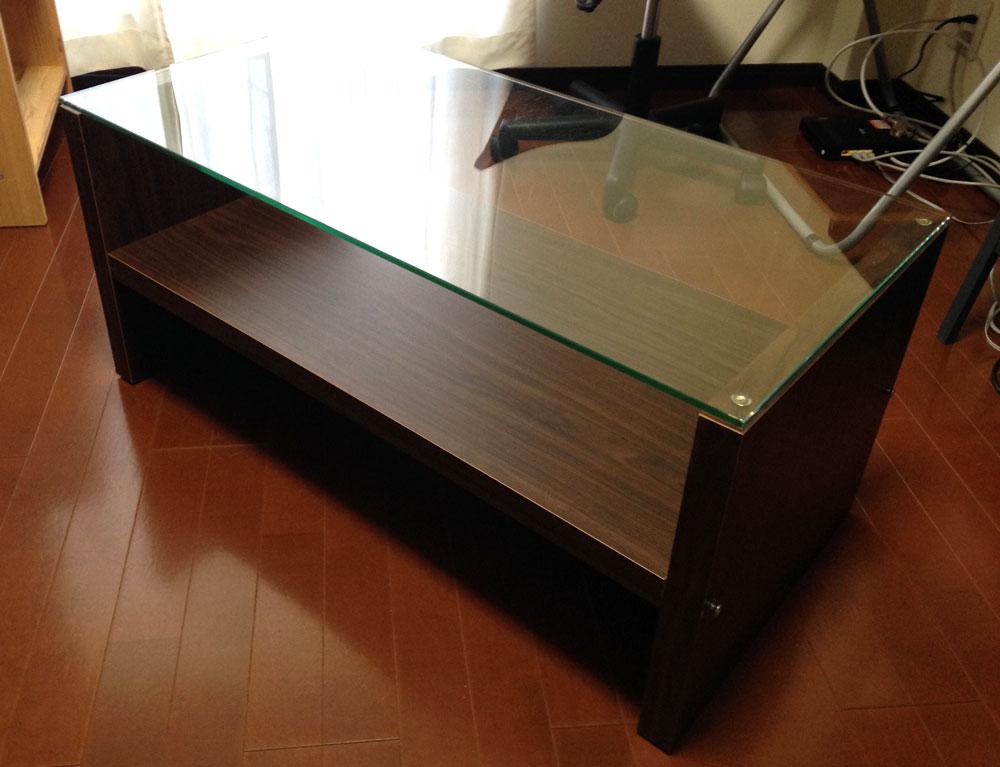 ガラスの天板ローテーブル